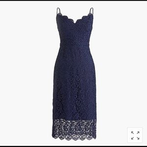J Crew Guipure Lace Dress in Navy Lace, Size 00
